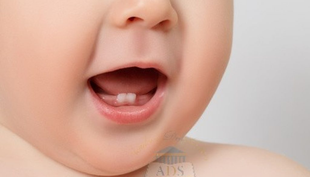 closeup of a Baby teeth